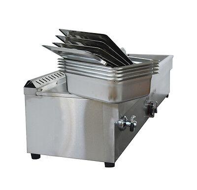 5 Pans LP Gas Wammer Bain-Marie Buffet Food Warmer Steam Table 56 x16x13 ich 4
