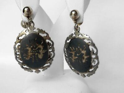 LOT Vintage 1930s Siam Sterling Thai Nakon Dancers Niello 2 Pins+3 Pair Earrings 4