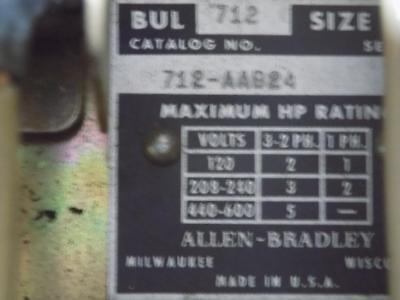 Allen Bradley Bulletin 712 Combination Starter 712-Aab24 4