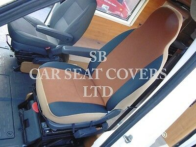 To Fit A Ford Transit Motorhome, 2004, Seat Covers, Tan Suede Mh-001, 2 Fronts 8