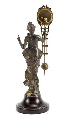 German Style Junghans Brass Diana Lady Figure Swinging Swinger Clock 5