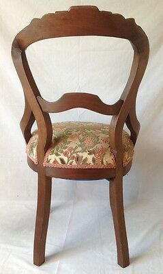 Antique Victorian Carved Balloon Back Chair Walnut w Chenille Upholstered Seat 7