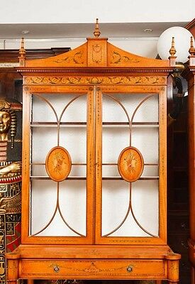 Pair Regency Satinwood Display Cabinets Bookcases Sheraton Furniture 4