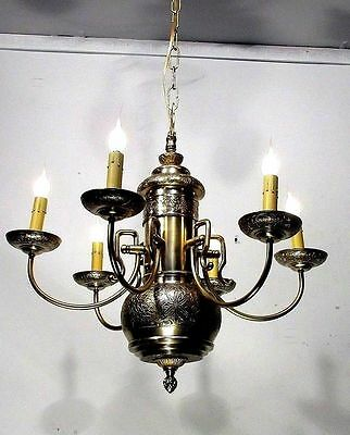 Vintage Brass Embossed Ceiling Light Fixture Lamp Chandelier  Restored 4