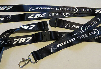 Boeing 787 Dreamliner Pilots / Crew BLACK neckstrap with safety clip Lanyard