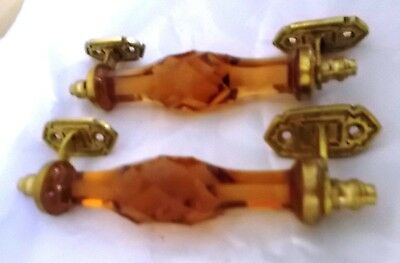 2 Ps Vintage Door Handles Puller Antique Style Beautiful Crystal Cut Glass Brass 3