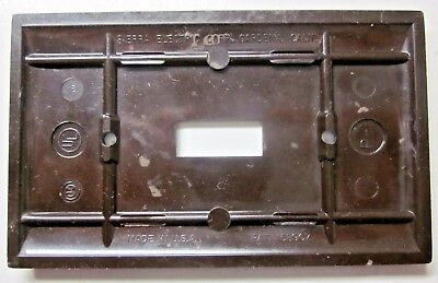 Sierra Switch Plate Wall Cover Brown Bakelite 2 Ribbed Lines Smooth P-1 Vintage 6