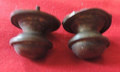 Pair Antique 19th c. Spun Brass Furniture Knob Drawer Pull Handle Federal Door 4