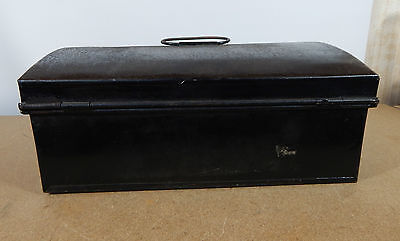 Vintage Tin Dome topper small storage chest Stationary etc 33cm x22cm hasp catch 6