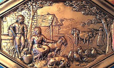 Antiguo Cuadro De Cobre Repujado Con Bonita Escena Pastoral