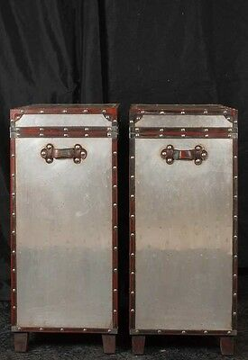 Pair Campaign Industrial Nightstands Chest Drawers Bedside Tables Luggage Trunk 2