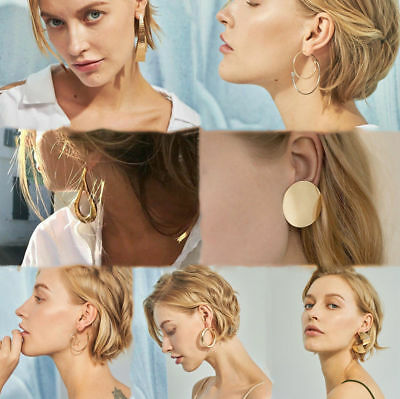 Boho Women Simple Geometric Circle Ear Stud Drop Dangle Earrings Fashion Designs 12