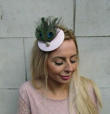 Pale Pink Light Blush Green Peacock Feather Hat Fascinator Hair Clip Small 0104 2