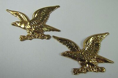 Old Pair Brass Figural Eagle Decorative Ornamental Hardware Adornments detailed 11