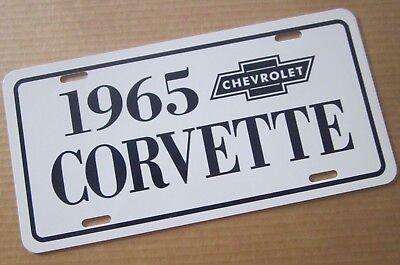 1965 Chevrolet Corvette license plate 65 Sting Ray White car tag with Dark Blue