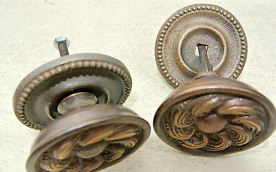 "2 heavy handle KNOB aged old solid Brass PULL large knobs kitchen 2"" georgian 4"