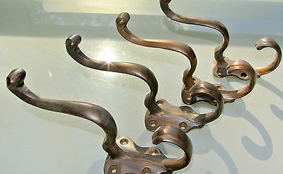 4 COAT HOOKS victorian door solid heavy brass furniture vintage age old style B 2