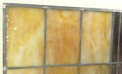 GEOMETRIC RECTANGULAR LEADED-STAINED GLASS WINDOW~Art Deco 22x15~HEAVY OBSCURITY 8