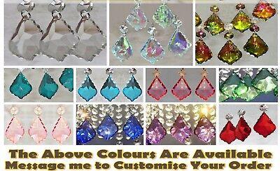 5 Crystals Drops Glass Beads Chandelier Light Prisms Parts Vintage Look Droplets 6
