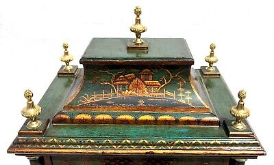 Antique Chinoiserie Green Laquered Triple Fusee Bracket Clock Chiming On 8 Bells 9