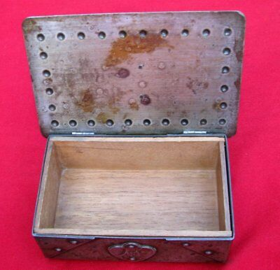 Antique Signed Scarce Small Hand Wrought Iron Box  By Goberg ~ Circa 1915 6