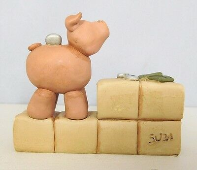 I Love Pigs - New resin block with a pig and coins on top-by Blossom Bucket#2752