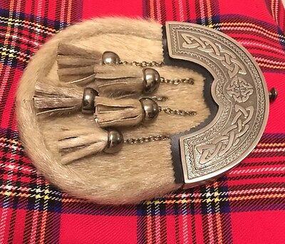 Men's Kilt Sporran Seal Skin Celtic Cantle Antique Finish/kilt Sporrans