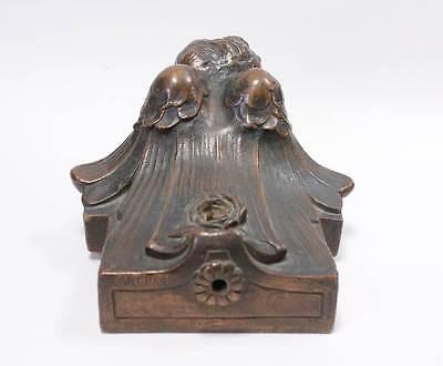Antique Library Light Figural Cherub Angle Fixture Circa 1910 5