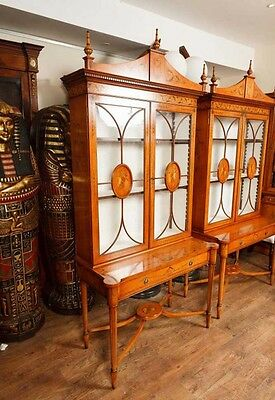 Pair Regency Satinwood Display Cabinets Bookcases Sheraton Furniture 2