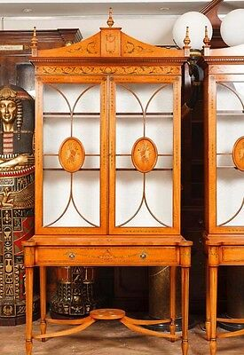 Pair Regency Satinwood Display Cabinets Bookcases Sheraton Furniture 8