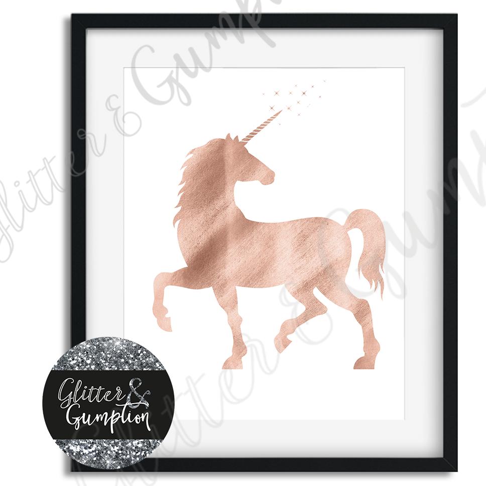 Beautiful Rose Gold Unicorn Girls Office Bedroom Wall Art Print Colour Options 4 49 Picclick Uk