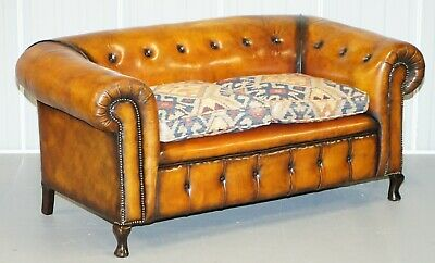 Pair Of Restored Victorian Gentleman Club Chesterfield Leather Sofas Kilim Seats 8