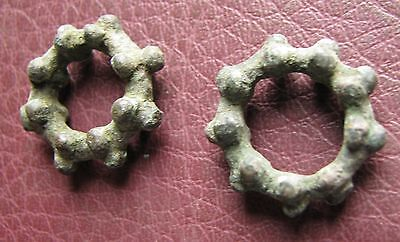 Authentic Ancient Lake Ladoga VIKING Artifact > Bronze Temporal Rings AA30 3