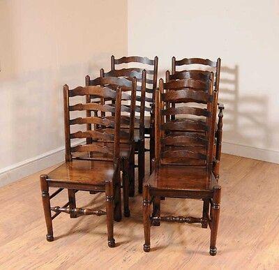 Set 8 Oak Ladderback Chairs Kitchen Dining Chair Farmhouse Furniture 11