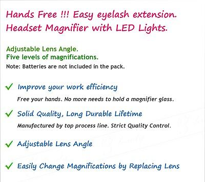 5 Lens Headset Magnifier Magnifying Glass Eyelash Extension LED & Hands Free