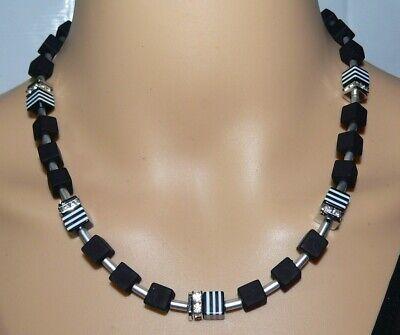 Halskette Würfelkette Kette Cube Würfel matt dunkelblau blau weiß Strass  015.