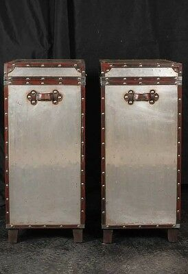 Pair Campaign Industrial Nightstands Chest Drawers Bedside Tables Luggage Trunk 7