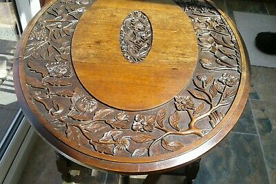 Antique Gateleg Oak Table  Drop Leave Table With Chinese  carved Top☆Very Rare 12