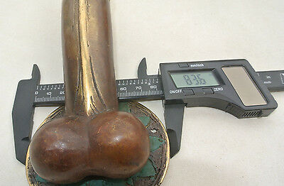 "medium heavy erect penis DOOR PULL or HOOK hand made brass 7 "" handle heavy B 4"