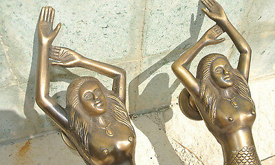 "PAIR large MERMAID solid brass door PULL old style heavy house handle 15"" aged B 4"