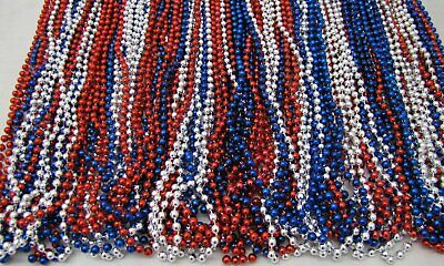 Mardi Gras Beads Red Blue Silver USA Troops July 4th Parade 6 Dozen 72 NECKLACES 4