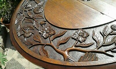 Antique Gateleg Oak Table  Drop Leave Table With Chinese  carved Top☆Very Rare 6