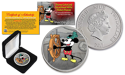 2017 NZM Nieu 1 oz PURE SILVER BU Mickey Mouse Disney Steamboat Willie Coin LTD