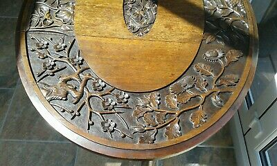 Antique Gateleg Oak Table  Drop Leave Table With Chinese  carved Top☆Very Rare 11