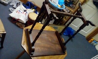 SMALL VICTORIAN SIDE TABLE with turned legs & cross timber 5