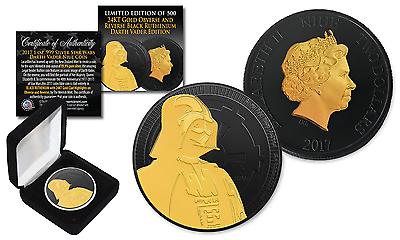 2017 NZM 1 oz Silver DARTH VADER Star Wars Coin with BLACK RUTHENIUM & 24K Gold