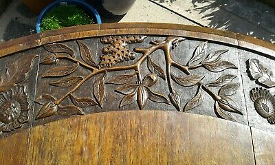 Antique Gateleg Oak Table  Drop Leave Table With Chinese  carved Top☆Very Rare 10