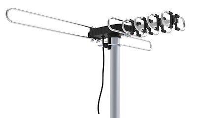 200 MILES OUTDOOR TV ANTENNA MOTORIZED AMPLIFIED HIGH GAIN dB HDTV  UHF VHF FM 5