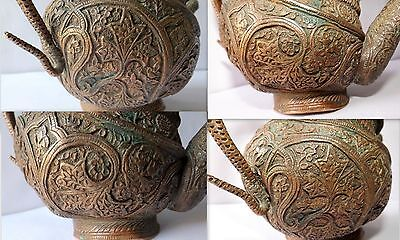1700 Rare Copper Holy Water Pot Snake Floral Embossed Carved Water Pot Must See 2