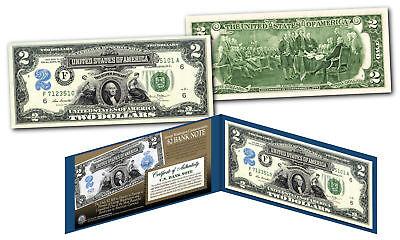 1899 George Washington Two-Dollar Silver Certificate designed on modern $2 bill 2